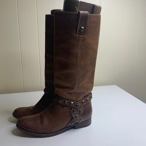 FRYE Melissa HoneyComb Studded Tall Brown Boots 8